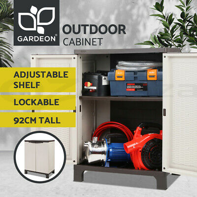 Outdoor Storage Cabinet Lockable Cupboard Half Garden Garage Adjustable Spacious