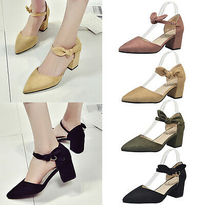 Women Block Heel Pointed Toe Pumps Shoes Ankle Strap Sandals  Chunky Party Shoes