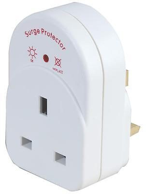 1 Way SURGE PROTECTED SOCKET UK MAINS PLUG ADAPTER Protects Electrical Equipment