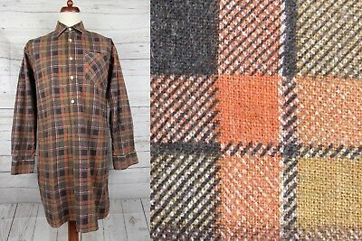 Vtg Brown Check Long Overhead Smock Cotton Chore Worker Shirt -S/M- CY99
