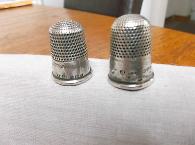 Two  Vintage  Sterling  Silver Thimbles  Birm/ Chester   1900/ 1913