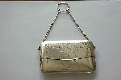 Engraved Solid Silver Card Case Hm. Birmingham 1915 Finger Ring Chatelaine