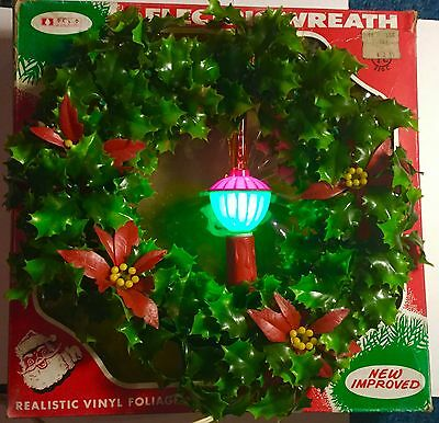 VTG Christmas Horror Vinyl Plastic Wreath With Bubble Light Candle Orig Box #1