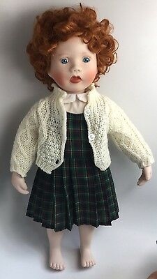 Kathy Hippensteel Signed Doll MOLLY Red Hair Cloth & Porcelain 16""