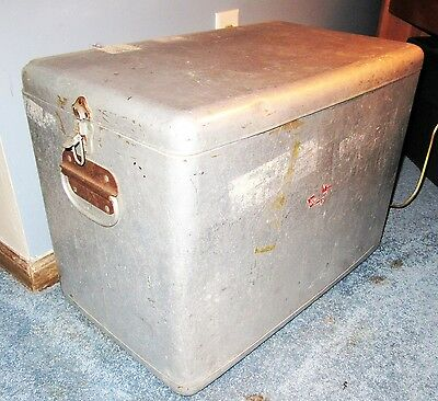 1950's dull silver ice Chest picnic metal cooler  Ice / soda mid century