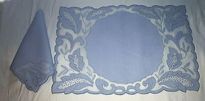 Antique 8 pc Set Hand Embroidered  Applied Blue Organdy Linen Placemats Napkins