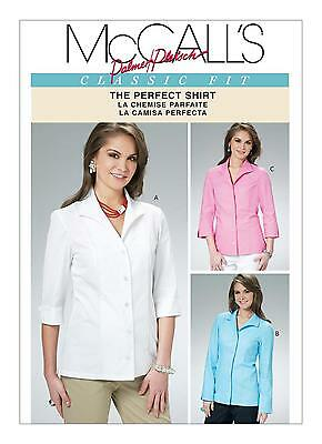 McCalls SEWING PATTERN M6076 Misses Shirts/Blouses 8-14 or 16-22
