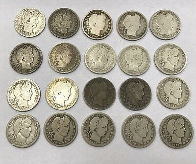 Lot of 20 Mixed Dates Barber 90% Silver Quarters 1892-1916 *1