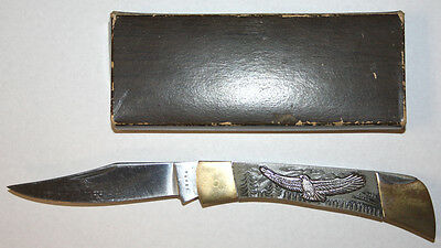 Vintage Folding Japan Eagle Lock Blade Folding Pocket Knife In Original Box LOOK