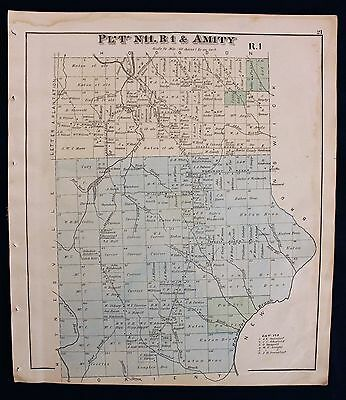 m Original 1877 Roe & Colby Aroostook County Amity Map
