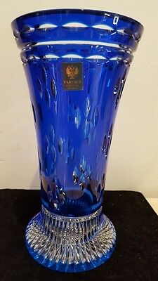 """FABERGE COBALT BLUE CASED CUT TO CLEAR CRYSTAL VASE SIGNED STICKER 9-1/2"""" Tall"""