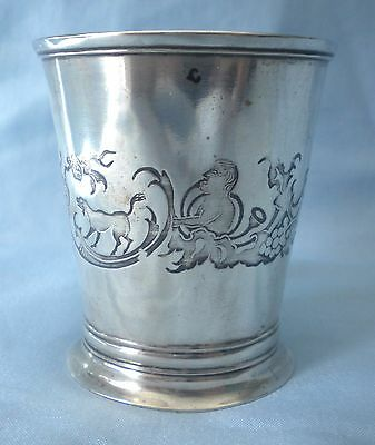 Superb Antique Engraved 1854 Coin Silver Beaker Cup Mint Julep Dog Man Griffin