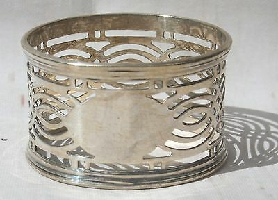 Vintage Silver Plate  Napkin Ring Filigree Fretwork with Blank Escutcheon