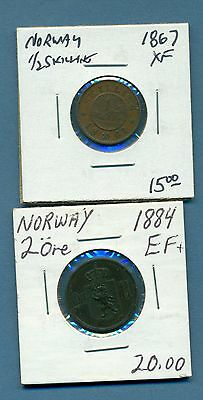 Norway 2 Ore, I/2 Skilling Nice No Reserve