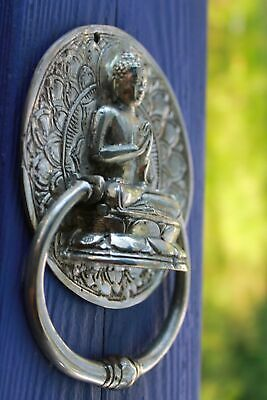 Buddha Namaskara Mudra Door Knocker Handle Cast Silver Bronze Bali Art 4.75""