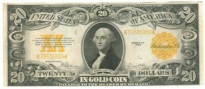Series 1922 U.s. Large Size $20.00 Gold Certificate - Nice