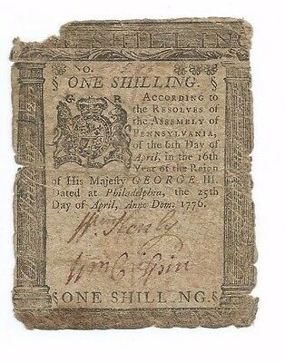 April, 1776 Pennsylvania Colonial Note 1 Shilling Note