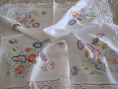 Lovely  Irish Linen Hand Embroidered Tablecloth With Hand Crochet Lace
