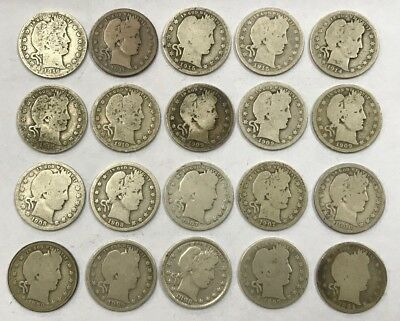 Lot of 20 Mixed Dates Barber 90% Silver Quarters 1894-1916 *15