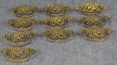 drawer pull bail handle fancy Victorian 5 in. lot group 10 matching antique