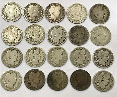 Lot of 20 Mixed Dates Barber 90% Silver Quarters 1897-1916 *23