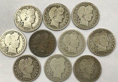 Lot of 10 Different Barber Quarters 1898-1916  *19