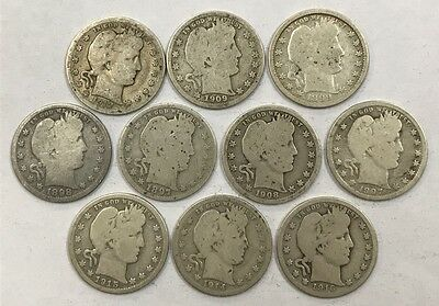 Lot of 10 Different Barber Quarters 1897-1916  *20