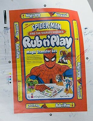 ESS820. SPIDER-MAN AND THE MARVEL-HEROES Rub n' Play Colorforms PROOF Set (1978)