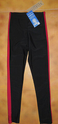 NWT Capezio Skatewear Black Red Legging Pants Ice Skating Small Adult 8964
