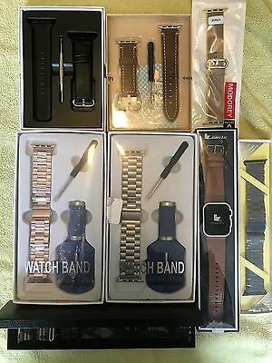 New Apple Watch 42 mm (8) Band Lot, Metal, Leather, Rose Gold, Brown, Black Camo