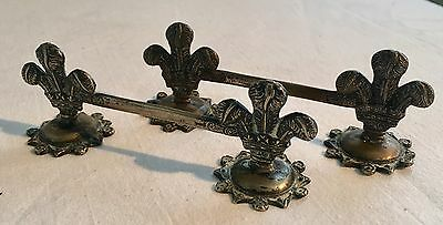 PAIR ANTIQUE 19thC SILVER PLATED KNIFE RESTS PRINCE OF WALES FEATHERS DESIGN