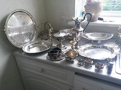 Large Job Lot /collection Vintage/  Modern Silver Plated Items -Trays / Dishes