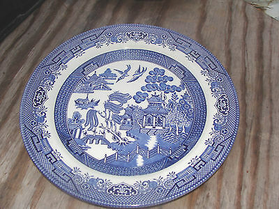 CHURCHILL STAFFORDSHIRE ENGLAND MARKED BLUE WILLOW  10'' dinner plate  #1