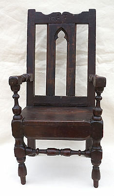 Antique Gothic Revival Child Armchair Throne Monogram Turned Wood Early 18th C