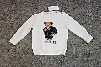 Ralph Lauren Baby Boys White Cotton Sweater (Bear) - Size 24 Months - NWT