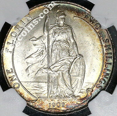 1902 NGC MS 64 Florin Edward VII GREAT BRITAIN Coin (17051806D)