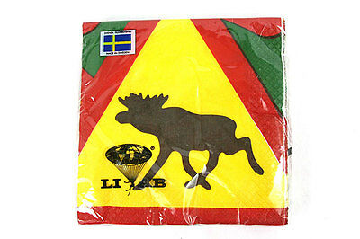 Swedish White Paper Napkins – 20-Pack – LIAB Moose Traffic Sign - Made in Sweden