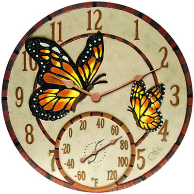 Springfield 91019 Mosaic Butterflies Poly Resin Clock & Thermometer