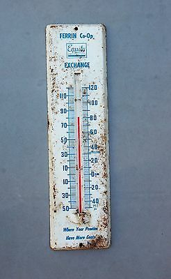 """Metal Thermometer Vintage Farm Ferrin Co-Op Equity Exchange 11 1/2"""" Functional"""