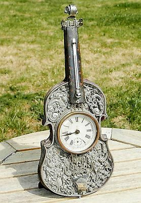Ansonia Novelty Cello Clock / Thermometer -  Unrestored