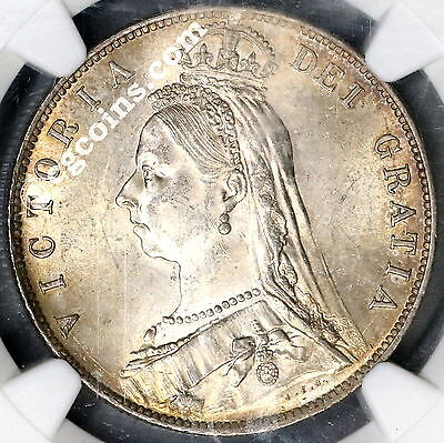 1891 NGC MS 63 Silver 1/2 Crown Victoria GREAT BRITAIN Coin (17051101D)