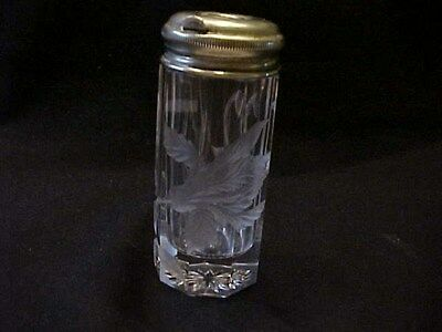 Unusual Old Cut Glass Salt Shaker / Cut & Frosted Flower / Unusual Dispenser Top