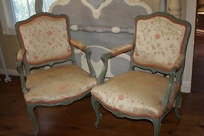 Antique Upholstered Chair Set 2 Silk Floral Arm Chairs Solid Wood Frames French