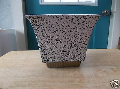 Vintage Pink and Black Speckled Shawnee Art Pottery Planter with Gold Base