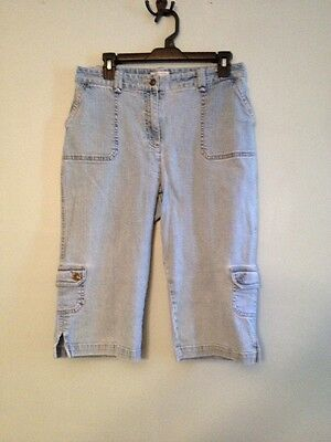 Christopher & Banks Stretchy Women's Size 10 Capris White Washed Denim