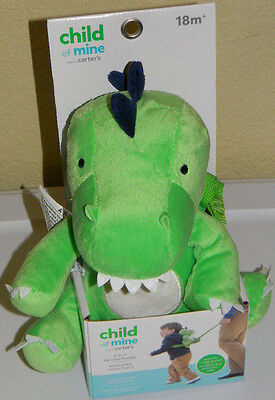 New Child Of Mine Carter's Green Blue Dinosaur Buddy Harness Toddler Backpack