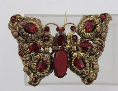 Vintage VICTORIAN Ruby Red Rhinestones BUTTERFLY Antique Brass Floral Brooch