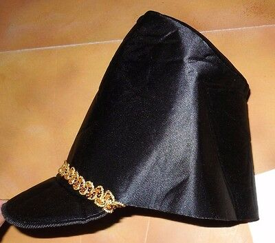 NWT foamback satinette toy soldier nutcracker hat one size black gold sequin