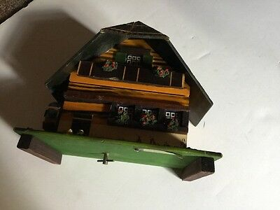 Vintage Wood Swiss Chalet Jewelry Music Box Turning Water Wheel Mill Dr Schiwago