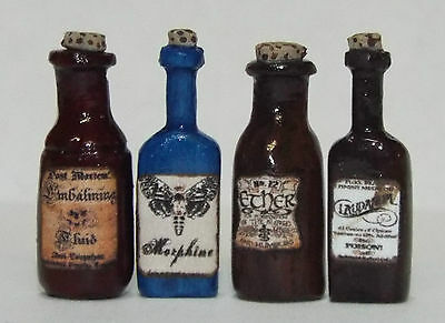 Dollhouse miniature handcrafted 1/12th scale set of 4 medical bottles